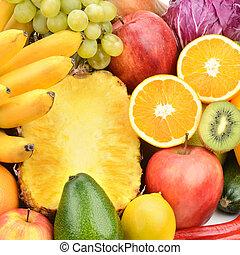 vruchten, set, groentes