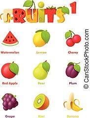 vruchten, vector, set, pictogram