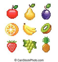 vruchten, vector, spelen, pixel, iconen