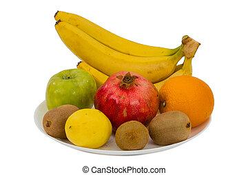 vruchten, witte achtergrond, vrijstaand, rijp