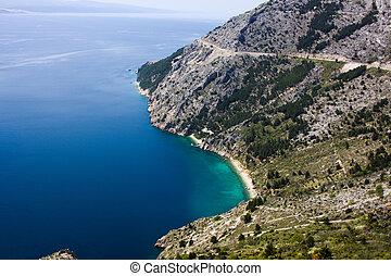 vrulja, sandstrand, bei, brela, kroatien
