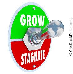 vs, застаиваться, -, вводить новшества, расти,...