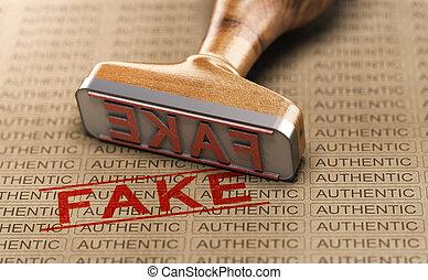 vs, authentique, faux, concept, poduct., faux