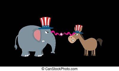 vs, démocrate, fâché, politique, éléphant, républicain, âne
