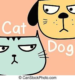 vs, dog, illustratie, kat, achtergrond., vector