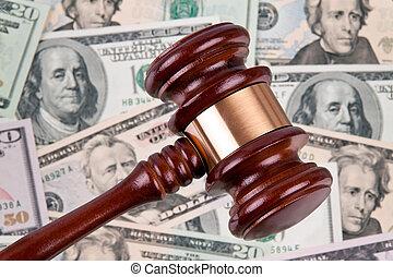 v.s., dollars, bankpapier, met, gavel., wettelijk, kosten,...