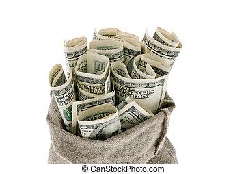 v.s., dollars, rekeningen, in, een, zak