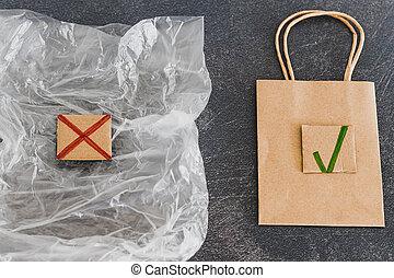 vs, nature morte, emballage, sac plastique, papier, traversé, soutenable, vert, tique, matériels, dehors