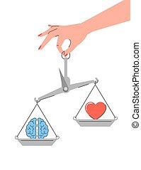 vs, plat, vecteur, émotions, linéaire, logique, concept