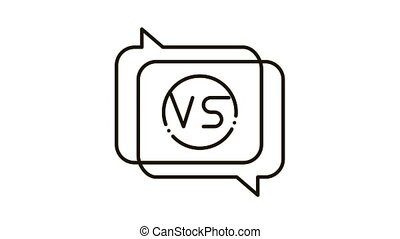 Vs Quote Frame Icon Animation. black Vs Quote Frame animated icon on white background