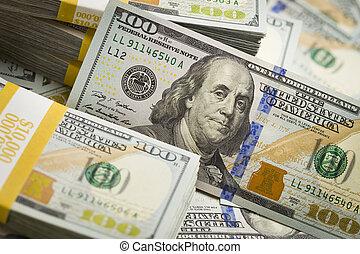 v.s., rekening, dollar, abstract, een, nieuw, honderd,...