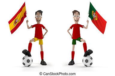 vs, spanyolország, portugália