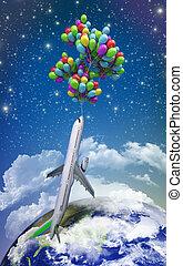 vt, ライト, 空の旅, 概念, 飛行機, 飛ぶ, 上に, 風船, 上に, a, 背景, の, ∥, 空, 3d, イラスト, render