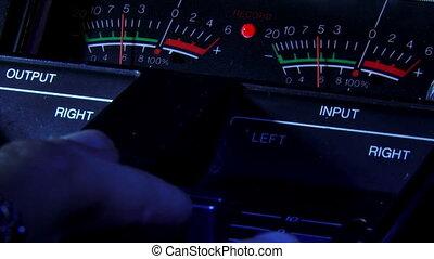 VU meter, hand, increasing - Volume Units meter, hand,...