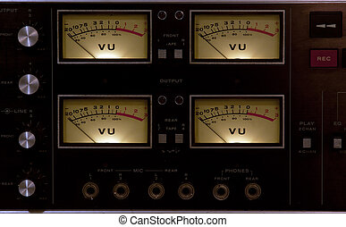 vu meter input output - 4 vu meters in a recording studio
