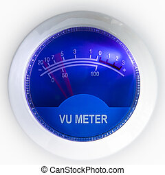 vu meter with blue background