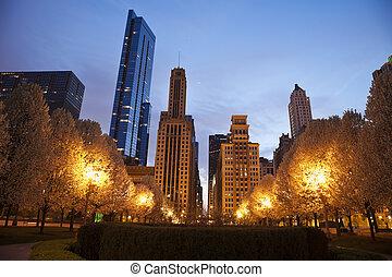vu, millénaire, parc, architecture, chicago
