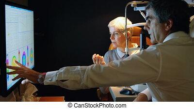 vue, écran, optométriste, rapport, expliquer, 4k