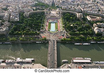 vue, aérien, paris.
