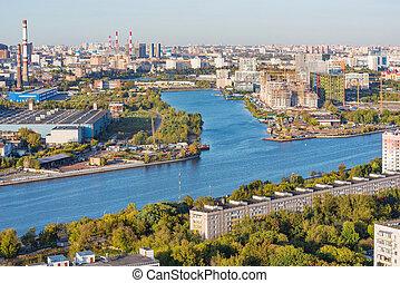 vue, aérien, time., soir, ville, moscow., russia.