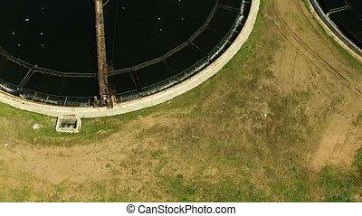vue, aérien, wastewater, plant., traitement