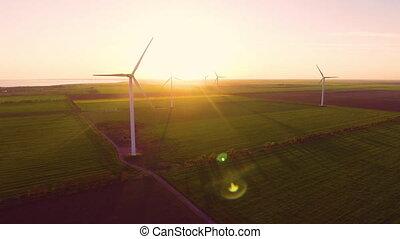 vue aérienne, énergie, production, enroulez turbines