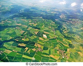 vue aérienne, -, champs, et, cultures
