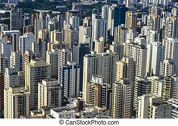 vue aérienne, city., grand