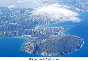vue aérienne, de, île