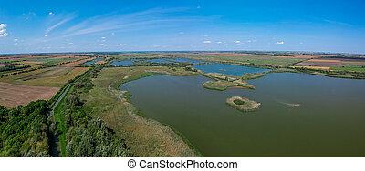 vue aérienne, de, a, lac