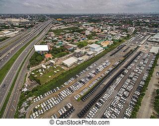 vue aérienne, de, autoroute, dans, bangkok, ville, thaïlande