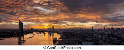 vue aérienne, de, bangkok, horizon, long, chaophraya, rivière, coucher soleil