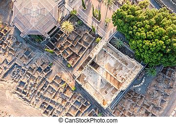 vue aérienne, de, capernaum, galilée, israël