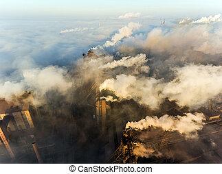 vue aérienne, de, centrale électrique
