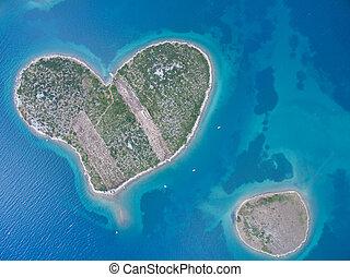 vue aérienne, de, coeur, formé, galesnjak, île, sur, les, adriatique, coast.