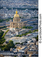 vue aérienne, de, coupole or, de, invalides, paris, france