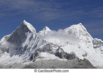 vue aérienne, de, himalaya, montagnes, dans, népal