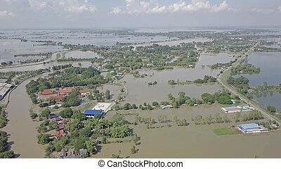 vue aérienne, de, inondation, dans, thailand.