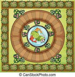 vue aérienne, de, jardin