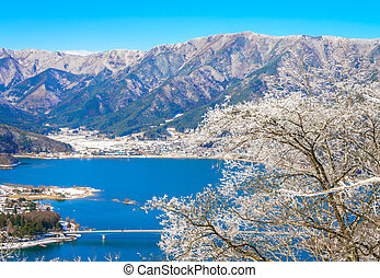 vue aérienne, de, kawaguchiko, lac