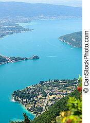 vue aérienne, de, lac annecy