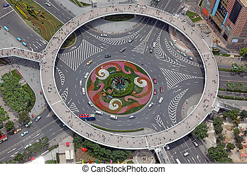 vue aérienne, de, les, carrefour, dans, shanghai, porcelaine