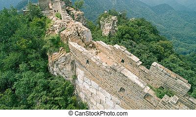 vue aérienne, de, les, grand mur, dans, porcelaine