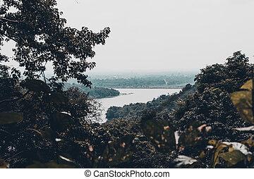 vue aérienne, de, les, rivière, dans, thailand.