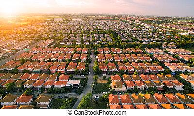 vue aérienne, de, maison, village, dans, bangkok, thaïlande