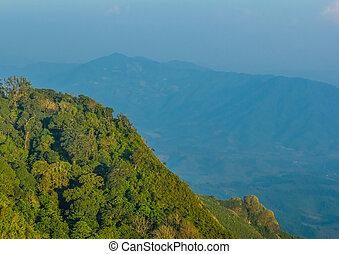 vue aérienne, de, moutain, dans, northen, thaïlande