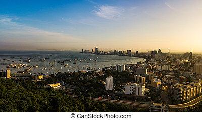 vue aérienne, de, pattaya, thaïlande