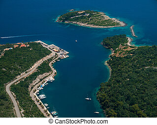 vue aérienne, de, paxos, île