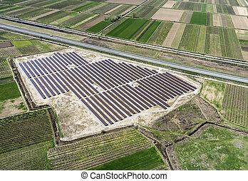 vue aérienne, de, photovoltaïque, panneaux