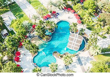 vue aérienne, de, piscine